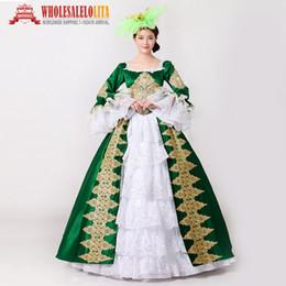 2019 grünes renaissance kleid Royal Green Stickerei 18. Jahrhundert Kostüm Renaissance Bürgerkrieg Southern Belle Kleid Marie Antoinette Theaterkostüm günstig grünes renaissance kleid