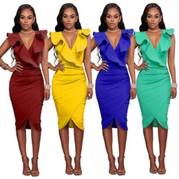 Wholesale Pencil Wiggle Dresses - Elegant Ruffle Sleeveless Women Party Wear To Work Fitted Stretch Slim V Neck Wiggle Pencil Sheath Dress Cocktail Dress FS3490
