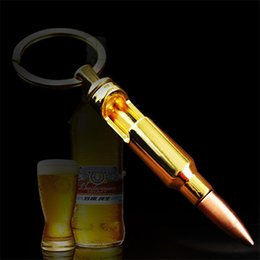 Wholesale bottle shaped opener - Creative Bullet Bottle Opener Keychain Metal Shell Shaped Beer Opener Great Gift idea for Military Fan