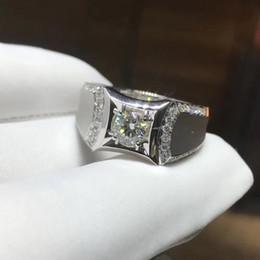 2019 quilate diamante 18k Envío gratis Anillo de diamante Moissanite de 1 quilate creado en laboratorio, blanco 9k, 14k, anillo de caballero de oro de 18 k con certificado quilate diamante 18k baratos