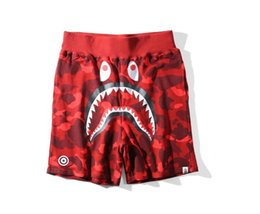 Wholesale cotton polyester pants men - Men's Shark Shorts For Cotton Camo Luminous Causal Shorts Men Casual Camouflage Skateboard Short Pants Loose Streetwear