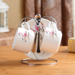 Wholesale White Dish Sets - Patrin Flamingo coffee cup set British creative ceramic bone china coffee cup dish tea cup of tea