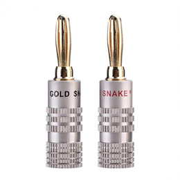 Enchufes de plátano conector de oro online-VBESTLIFE 10 Unids / pack Banana Plug 4mm Diameter Audio Jack Adapter Dual Screw Lock Conector de altavoz 24K Gold Plated Pure Copper