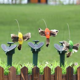 Garten im freien online-Lustige Fliegen Solar Kolibri Spielzeug Im Freien Dynamische Vogel Gartendekor Multi Farbe Simulation Feder Vögel Kunsthandwerk TTA534