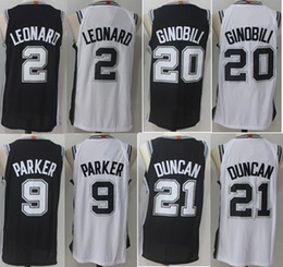 Wholesale Manu Black - 2018 Men Player version Jersey 2 Kawhi Leonard 9 Tony Parker 20 Manu Ginobili 21 Tim Duncan Stitched College mixed Order