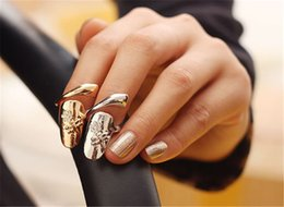 Wholesale Snake Wedding Rings - Exquisite Cute Retro Queen Dragonfly Design Rhinestone Plum Snake Gold Silver Ring Finger Nail Rings