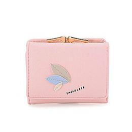 Rosa wallet koreanisch online-PU Leder Geldbörse Rosa Kartenhalter Mini Mädchen Geldscheinklammer QL Korean Nette Frauen Brieftasche Kurze Einfache Blatt Schnalle Damen Brieftaschen