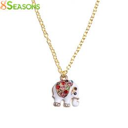 "Wholesale Long Elephant Pendant Necklace - whole sale8SEASONS Fashion Jewelry Necklace gold-color White Elephant Pendant Enamel Multicolor Rhinestone 61cm(24"") long,1 Piece"