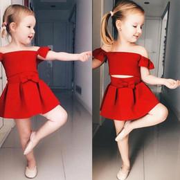 Wholesale Kids Dancing Outfits - Fashion Girls Off Shoulder Tops+Skirt Set 2018 Euro America Kids Boutique Clothing Little Girls Dancing Outfits Short Skirts 2 PC Set