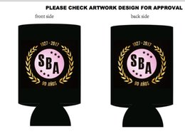 Wholesale Stubby Holders - Black Promotional Stubby Holder With Customized Pattern Printed For Wedding Gift Beer Can Coolers With LOGO
