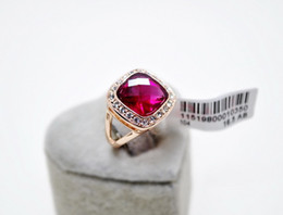Wholesale Diamond Red Ruby Ring - Wedding Engagement Red Ruby Rose Gold 5.75 ct simulated diamond Ring size 7.5