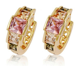 Wholesale Copper Imports - whole saletiger totem new design fashion brand women girl baby quality gold Plate copper import zircon square crystal hoop earring Jewelry