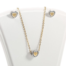 Wholesale heart shaped necklaces for girls - Spanish brand stainless steel gold or silver heart shape jewelry set with earring and necklace for woman PCS2599