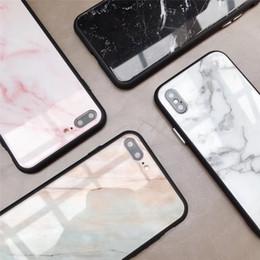 Nuova cassa del telefono di vetro di marmo di modo di arrivi per il bordo di vetro temperato antiurto di iPhone X 6 7 8 Soft TPU da