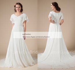 Wholesale White Chiffon Bridal Cape - Boho Chiffon A Line Wedding Dresses 2018 V Neck Cape Sleeve Back Cover Button Rustic Garden Outdoor Style Bridal Gowns Custom Made Hot Sale