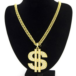 Wholesale pendant gold dollar - Europe United States Hip-Hop Jewelry Exaggerated Thick Chain Dollar Symbol Pendant Necklace Men's and Women's Accessories