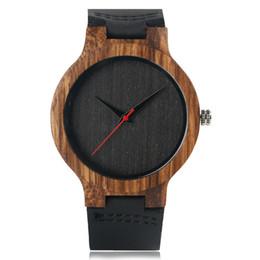 Wholesale Weide Wristwatches - Wooden Watches Quartz Watch Men 2017 Bamboo Modern Wristwatch Analog Nature Wood Fashion Soft Leather Creative Birthday Gifts