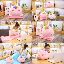 uma almofada sofás Desconto Travesseiro Jogue Dois Em Um Brinquedo De Pelúcia Unicorn Sofá Almofada Cobertor de Ar Condicionado Decoração de Casa Venda Quente 46fj hh