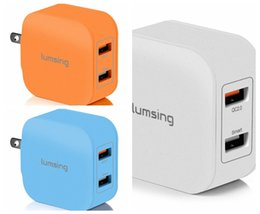Wholesale Galaxy Note Charging Port - Quick Charge 2 Port Wall Charger 20W QC2.0 Dual USB Port Travel Charger for iPhone Samsung Galaxy S5 S6 Edge Note 4 5 Google Nexus6(Lumsing)