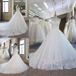 Wholesale Open Back Wedding Dresses Empire - 2018 Dubai Nigerian Lace Wedding Dresses Custom Made Plus Size Open Back Tulle Puffy Bridal Gowns Arabic Bridal Wedding Gowns