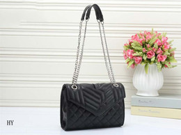 Wholesale Long Chain Handbags - 2018 New arrival high replicas fashion bags women designer handbags long metal chains crossbody shoulder bags small black totes leather bags