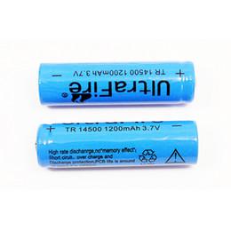 2019 3.7v batería de iones de litio aa UltraFire 14500 (batería AA) 1200mAh 3.7V Batería recargable de li-ion protegida para linterna SK68 3.7v batería de iones de litio aa baratos