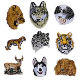 Wholesale Wholesale Embroidered Dog Patches - Embroidered Sewing Iron On Patches Dog Tiger Wolf Deer Leopard Animal Badge For Bag Jeans Hat Appliques DIY Sticker Apparel Decoration