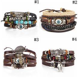 türkisches blaues armband Rabatt Tribal Blue Evil Eye Handmade Weave Leder Armband Multilayer verstellbare Armreif Manschette Charme feinen türkischen Schmuck 4 Stile OOA4489