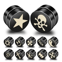 Piercing per gli uomini online-Magneti chiodo chiodo magnetico senza orecchini piercing nero orecchini in acciaio titanio nero