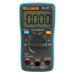 Wholesale voltmeter resistance - DM201 Portable Autoranging Digital Multimeter 6000 Counts Backlight AC DC Ammeter Voltmeter Resistance Current Ohm Mini Meter