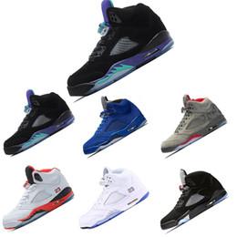 info for b9ff2 57551 Nike Air Jordan Retro 5 5s 2018 neue 5 OG Black Metallic Herren Basketball  Schuhe Männer camo Oreo Bel metallic schwarz weiß Traube 5s Sportschuhe ...
