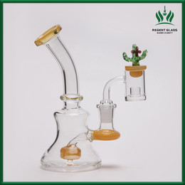 Wholesale Mini Caps - Mini Pipe wax Oil Dab Rig Glass Bong Water Pipes quartz banger bowl carb Cap Bongs Heady small bubbler Hookahs beaker Bong fee shipping