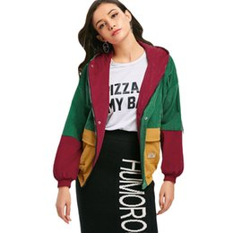 Gamiss Mujer Chaqueta de otoño Bloque de color Chaquetas de pana con capucha Zip Up Botón a presión Mujer suelta Abrigos Manga larga Casual Tops desde fabricantes