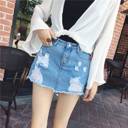 Wholesale Knee Skirt Denim Blue - Wholesale- Sexy Skirts for Women 2017 New Denim Skirts Short Summer High Waist Denim Shorts Jeans for Girls White Blue European Style Skirt