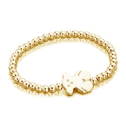 Wholesale beaded bracelet handmade - 2018 New classical design fashion jewelry 18k stainless steel gold silver steel Beaded handmade Bracelet pulsera mujer oso