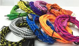 Wholesale Hdmi Data - Good quality 3FT 6FT 10FT Nylon Woven Cords Micro USB Fiber Fabric Braided Data Charger Cable Cord For Smartphone Cell Phone samsung S6 S7