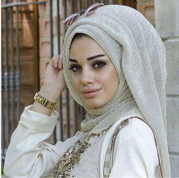 Cachecol glitter reluzente on-line-Q3 glitter cachecóis planície shimmer elástico longo headband moda cachecol hijab wraps xales muçulmanos