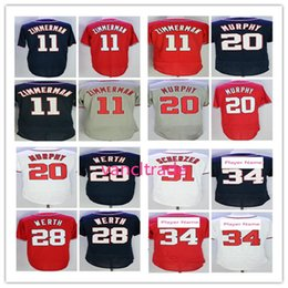 Wholesale Baseball Jerseys Washington - Washington 34 Baseball Jersey 11 Ryan Zimmerman Daniel Murphy 31 Max Scherzer 28 Jayson Werth 20 Daniel Murphy Jerseys