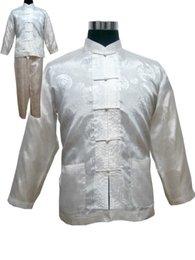 Pijamas vintage on-line-Plus Size XXXL Pijama de Cetim dos homens do Estilo Chinês Conjunto Botão Pijama Do Vintage Terno de Manga Longa Pijamas ShirtPant Nightwear Atacado