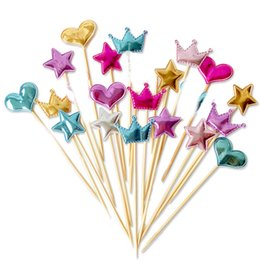 Wholesale plastic birthday cake toppers - Fast shipping 5 pcs lot lovely heart star crown cake topper for birthday cupcake flag baby shower party wedding decoration supplies