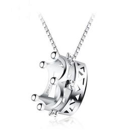 corona de reinas gratis Rebajas Nuevo collar de la corona S925 plata esterlina cadena de clavícula temperamento princesa reina colgante de joyería de plata envío gratis