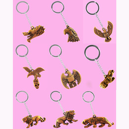 Wholesale Lions Keychain - Stainless Steel Key Chains Acrylic Pendant Mix 9 Styles Dragon Eagle Head Dove Dog Lion Tiger Key Rings Keychain Keyring Accessories (JK015)