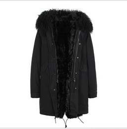 Buona qualità montatura in pelliccia di pecora Mongolia Jazzevar marca nero fodera in pelliccia di agnello nero giacche lunghe parka invernale neve con cerniera ykk da
