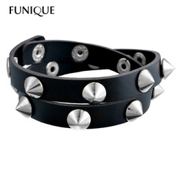 spiked bracelets studs Promo Codes - Gothic Punk Metal Cone Stud Spikes Rivet Leather Bracelet Wristband Cuff Bangle Cool Men Women Multilayer Bracelet