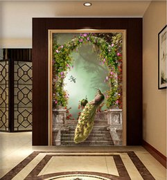 Wholesale Luxury Classic European Living Room - European Style Retro Peacock Rome Column Arch 3D Mural Wallpaper Hotel Living Room Entrance Corridor Backdrop Luxury Wall Paper