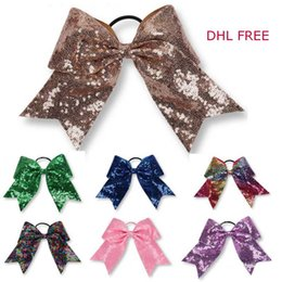 """Wholesale big bow hairband - 13 color JOJO bow 8"""" Metal Color hairband Shinny paillette Style Hairbands big Bowknot girl hairbands Hairpin Girls kids Hair Bows DHL free"""