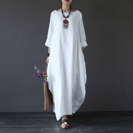 2019 sopra il collare del vestito dall'abito 2018 Estate Plus Size Abiti a maniche lunghe per le donne 3xl 4xl 5xl Abito di lino cotone sciolto Bianco Boho Dress Dress Long Maxi Robe