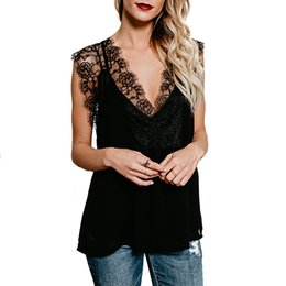 Wholesale Sling Shirts - Occident Style Sexy T-shirt Summer Women Lace Sling V-Neck Tops Solid Color Sleeveless Blouse Tee RF0875