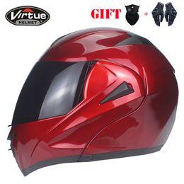 2019 interno completo DOT aprovado dual lens modular capacete da motocicleta da aleta de corrida capacete integral com pára-sol interno VIRTUE-808 modelo interno completo barato
