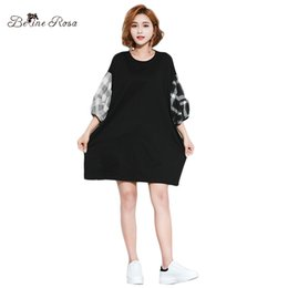 Wholesale long shirts for women simple - BelineRosa European Fashion Women Clothing Casual Simple Women Loose Long Shirts Lantern Sleeve Long Shirts for HS000570